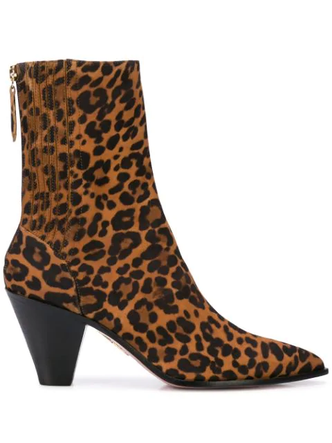 Aquazzura Saint HonorÉ 70 Animal Printed Ankle Boots In Leopard Printed Suede In Animalier