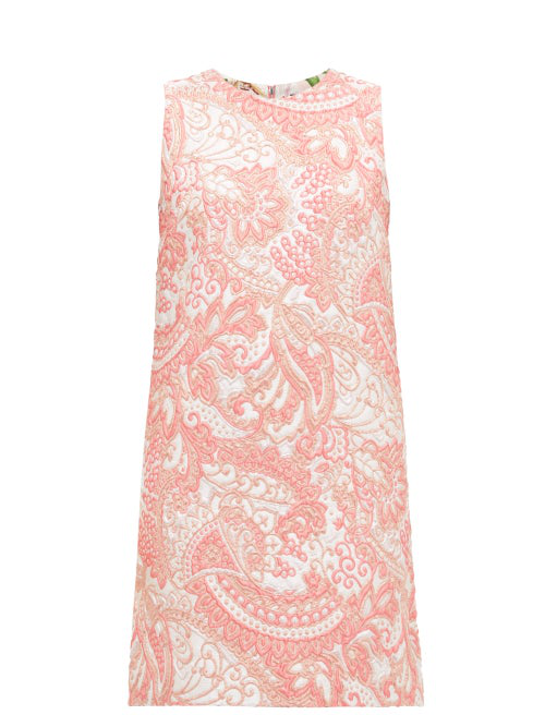 Dolce & Gabbana Floral-Brocade Mini Shift Dress In Pink White