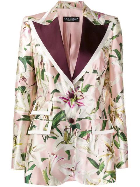 Dolce & Gabbana Single-breasted Floral-print Shantung Blazer In Hfkk8