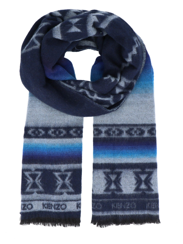 Kenzo Gradient Tiger Scarf In Blue