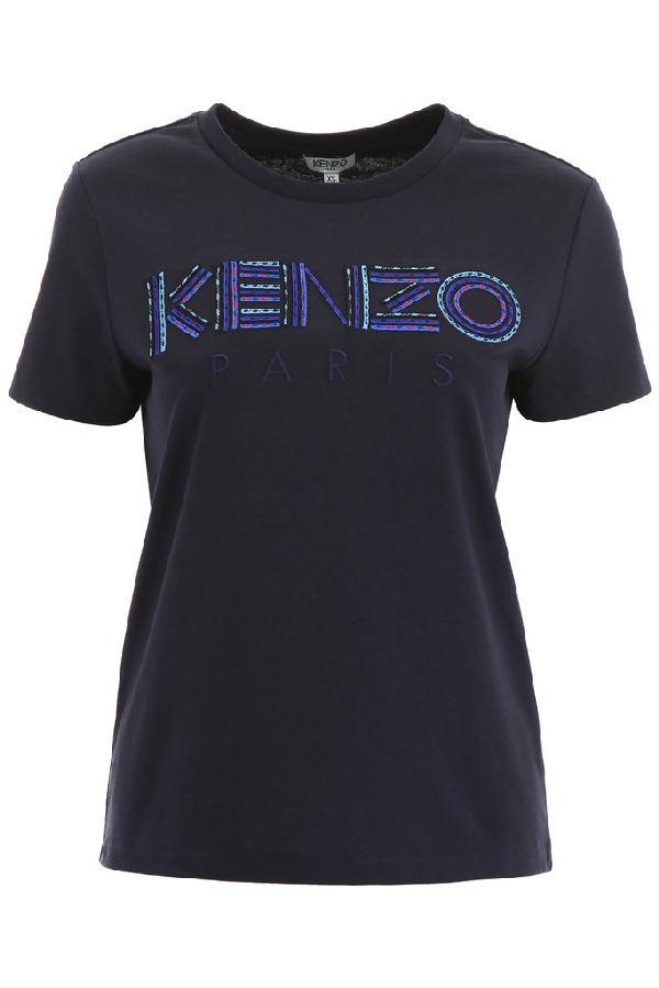 Kenzo Logo Embroidered T In Navy