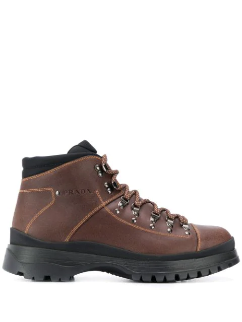 Prada Hiking Style Ankle Boots In F0038 Bruciato