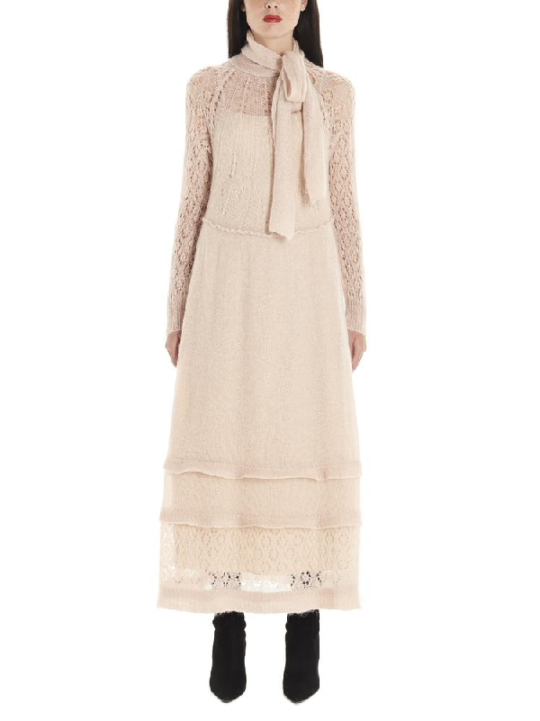 Red Valentino Pussy Bow Knitted Dress In Beige