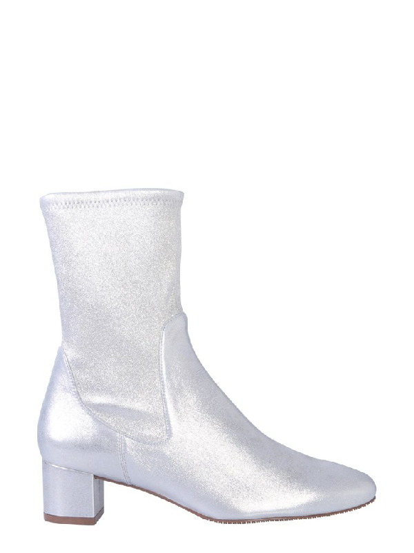Stuart Weitzman Metallic Effect Heeled Ankle Boots In Silver