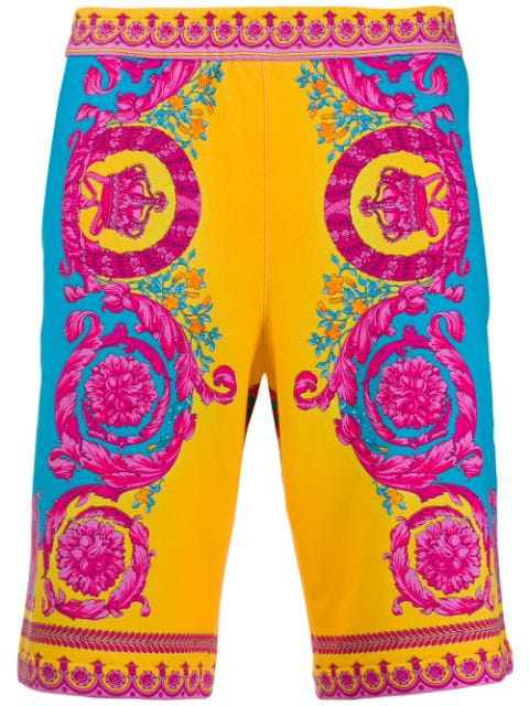 Versace Baroque Print Cotton Jersey Shorts In Yellow