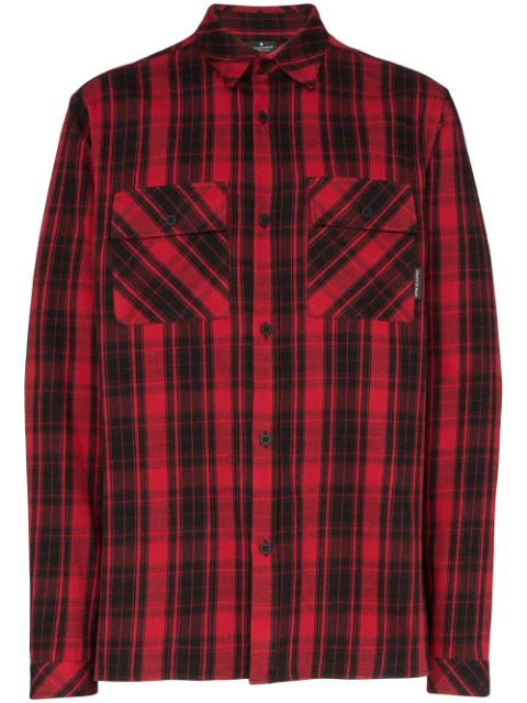 Marcelo Burlon County Of Milan Double Cargo Pocket Checked Shirt In Red