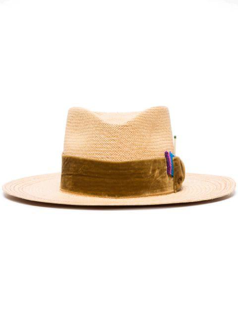 Nick Fouquet Velvet Ribbon-Trimmed Straw Hat In Neutrals