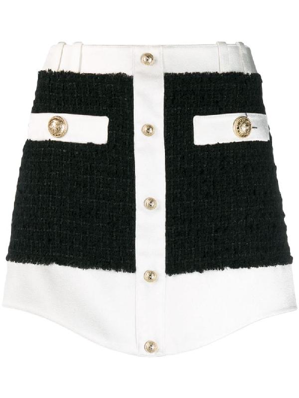 Balmain Tweed Buttoned Mini Skirt In Black