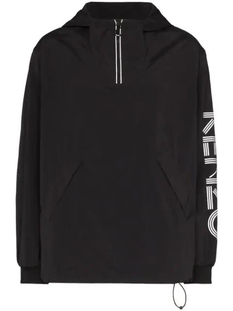 Kenzo Zipped Logo Windbreaker In 99 Black