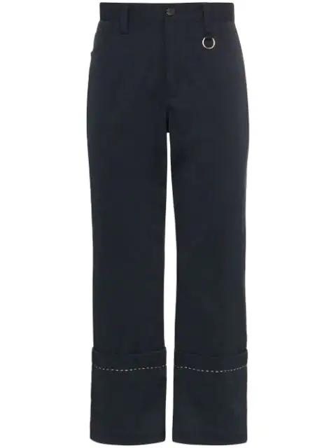 Dashiel Brahmann Cuffed Crop Mid-rise Trousers In Blue