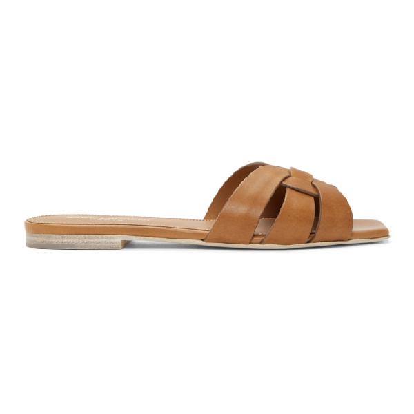 Saint Laurent Tribute Flat Sandals In Smooth Leather In Caramel