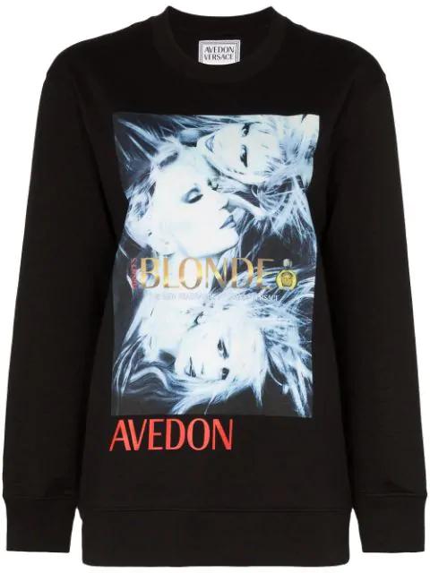 Versace Donatella Print Sweatshirt In Black