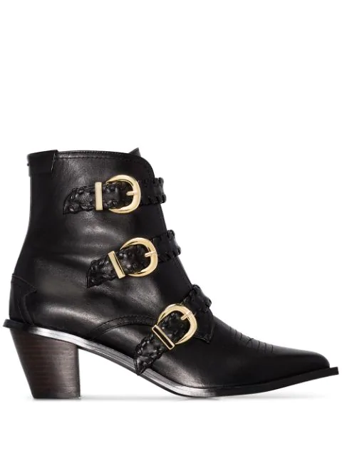 Reike Nen Buckled 60Mm Ankle Boots In Black