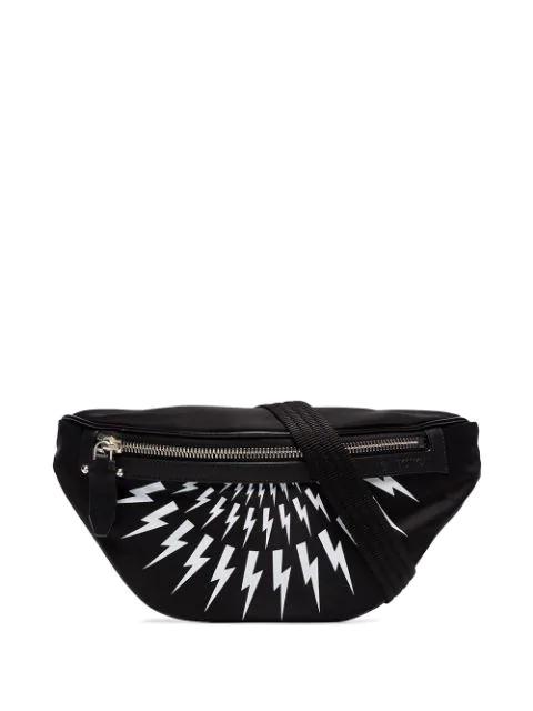 Neil Barrett Thunderbolt Print Belt Bag In Black