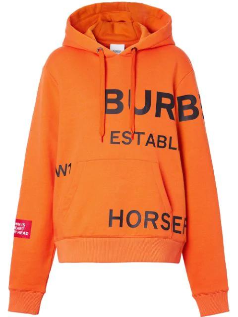 Burberry Orange Women's Horseferry Print Cotton Oversized Hoodie