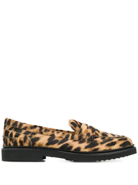 Tod's College Leopard Calf Hair Loafers In S812 Tabacco Chiaro