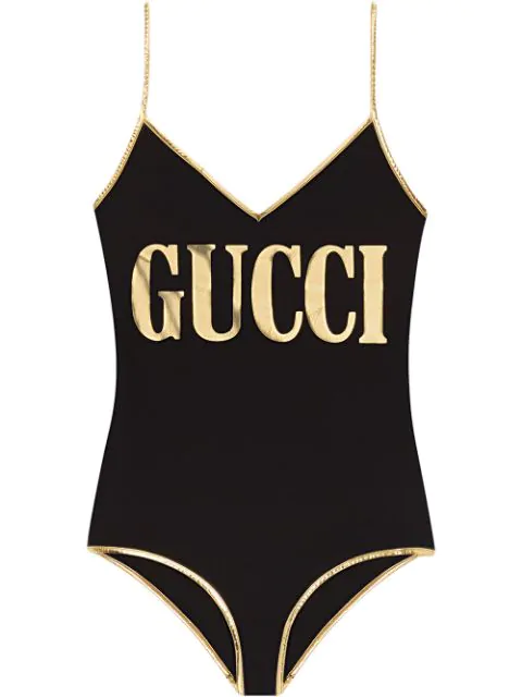 Gucci Black Women's Black And Gold Swimsuit