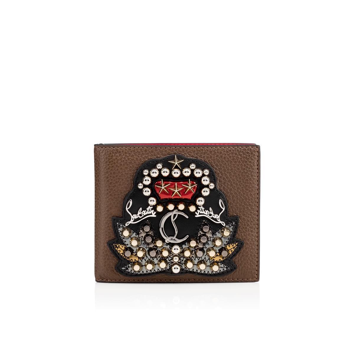 Christian Louboutin Kaspero Embellished Bi Fold Leather Wallet Mens Brown Multi In Cafe