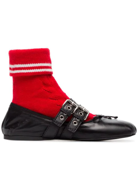 Miu Miu Black Leather Ballerinas With Red Sport Sock