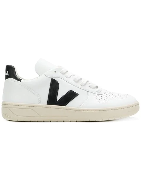 Veja White And Black V10 Leather Sneakers