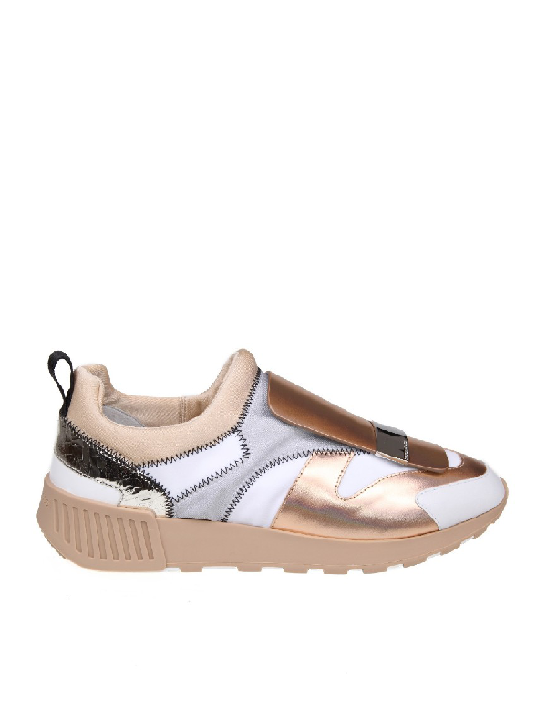 Sergio Rossi Sneakers Sr1 Leather And Fabric Color Copper And White In Neutrals
