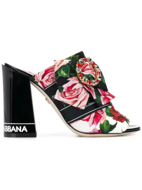 Dolce & Gabbana Printed Charmeuse Mules With Bejeweled Buckle In Hax46 Bianco Mix Rose