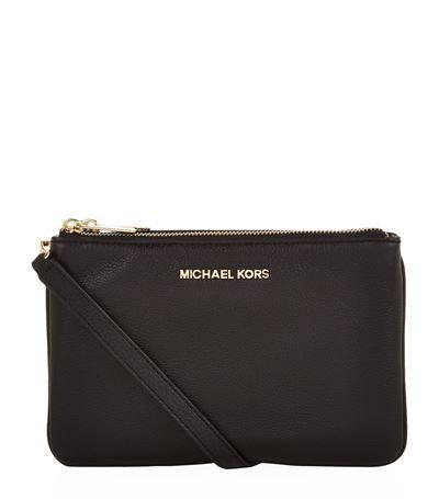 Michael Michael Kors Jet Set Saffiano Leather Clutch In Black