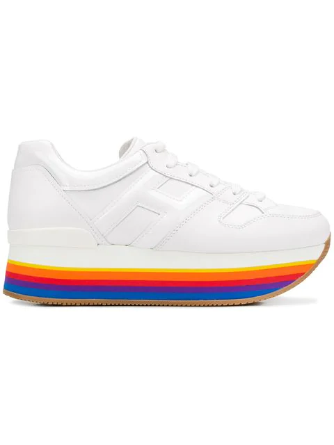 Hogan Maxi222 White Leather Sneakers With Multicolor Hem In B001 Bianco