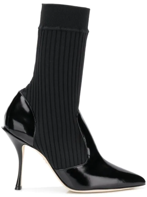 Dolce & Gabbana Polish Leather Ankle Boots With Stretch Knit In Black