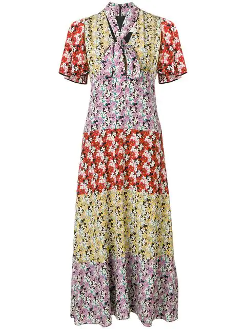 Valentino Multicolor Women's Floral Silk Tieneck Dress In Purple
