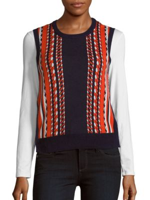 Equipment Abstract Printed Cotton Top In Peacoat Multicolor