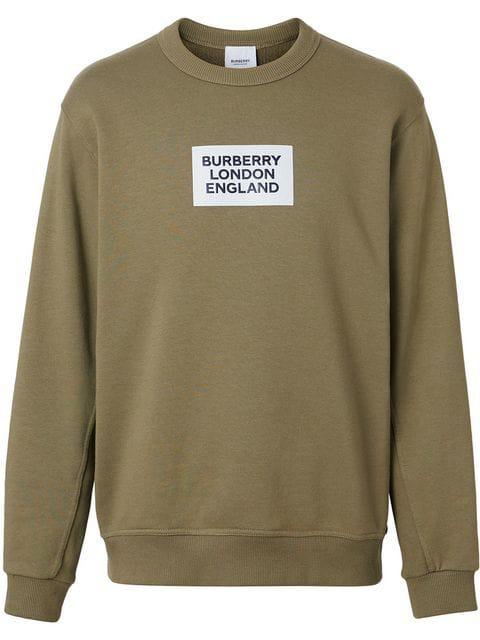 Burberry Green Men's Logo Print Cotton Sweatshirt In A3508 Dark Moss