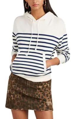 Saint Laurent Multicolor Women's Horizontal Striped Hoodie In White
