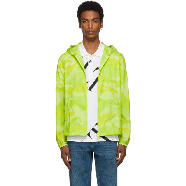 Valentino Yellow Men's Camouflage Windbreaker Jacket In Iumcamou G