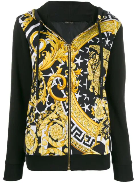 Versace Black Women's Printed Zip-Front Hoodie In A7900