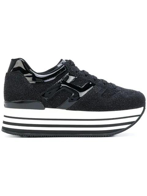 Hogan Maxi H222 Black Glitter Fabric Sneakers