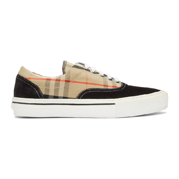 Burberry Multicolor Men's Vintage Check Cotton And Suede Sneakers In Black / Arc
