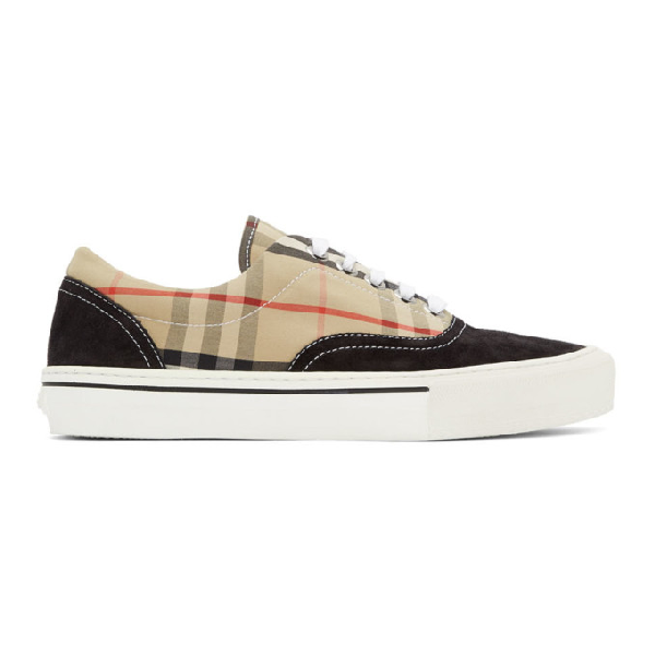 Burberry Multicolor Men's Vintage Check Cotton And Suede Sneakers In Black/archive Beige