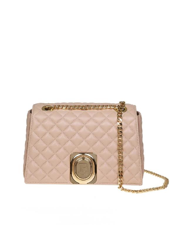 Balmain Pink Leather Shoulder Bag In Neutrals