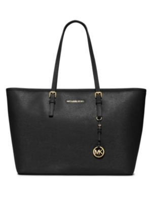 Michael Michael Kors Jet Set Medium Saffiano Leather Travel Tote In Black