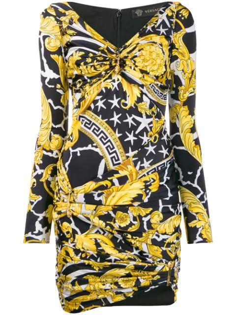 Versace Multicolor Women's Savage Barocco Print Dress In Yellow