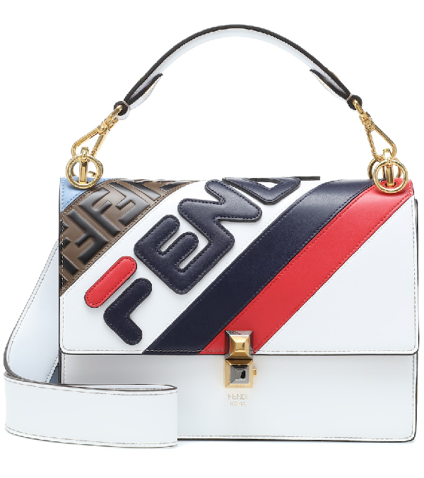 Fendi Kan I Colour Block Leather Shoulder Bag In Multicoloured