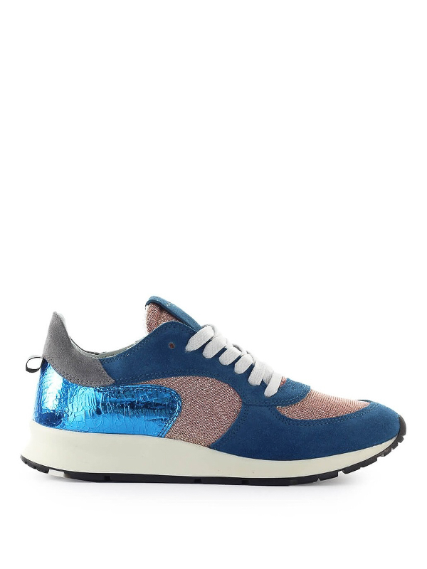 Philippe Model Montecarlo Glitter Mix Blue Lilac Sneaker In Multicolour