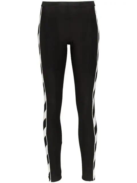 Off-white Black Women's Diagonal Stripe Print Leggings In Black/white