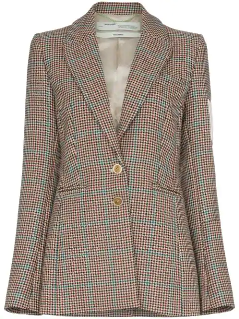 Off-white Neutral Women's Contrast-patch Tweed Blazer In Brown