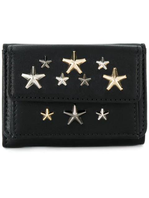 Jimmy Choo Star Embellished Leather Nemo Wallet In Black