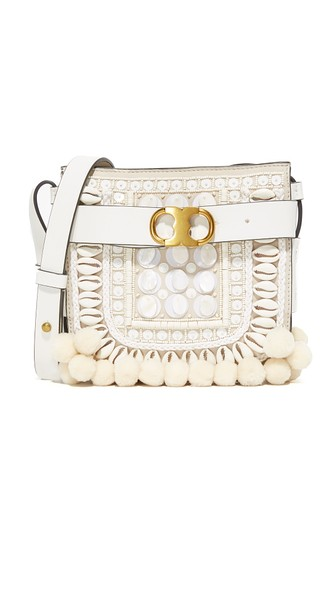 5146bfa6a978 Tory Burch Gemini Link New Ivory Suede And Leather Small Crossbody Bag  W Pom-