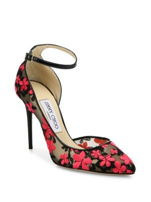 Jimmy Choo Lucy 100 Floral-embroidered Lace D'orsay Pumps In Black-pink