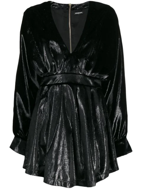 Balmain Black Women's Velvety Metallic Dress
