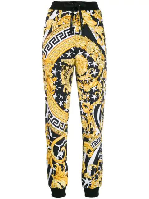 Versace Multicolor Women's Savage Barocco Print Track Pants In Black